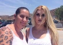 Caption: Elizabeth Wenkuna and her mother outside the jail, Credit: George Lavender