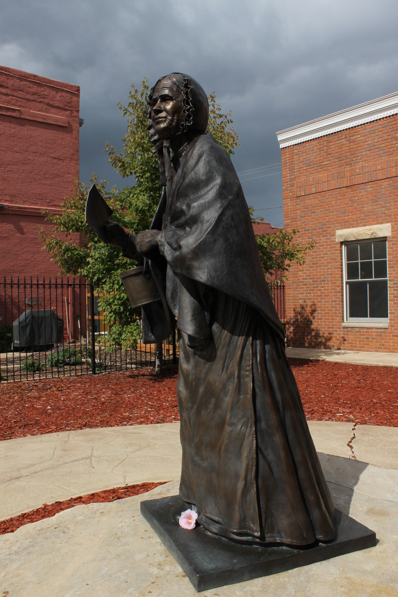 Caption: A statue of Louisa Swain, the first woman to cast a ballot. Swain lived in Laramie, WY.