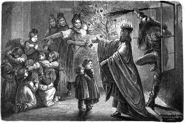 Caption: Christ Child and Hans Trapp in Alsace (1863 illustration), Credit: Public Domain