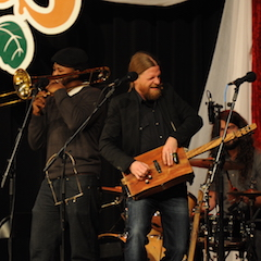 Caption: Matt Isbell and Suavo Jones from the Ghost Town Blues Band.