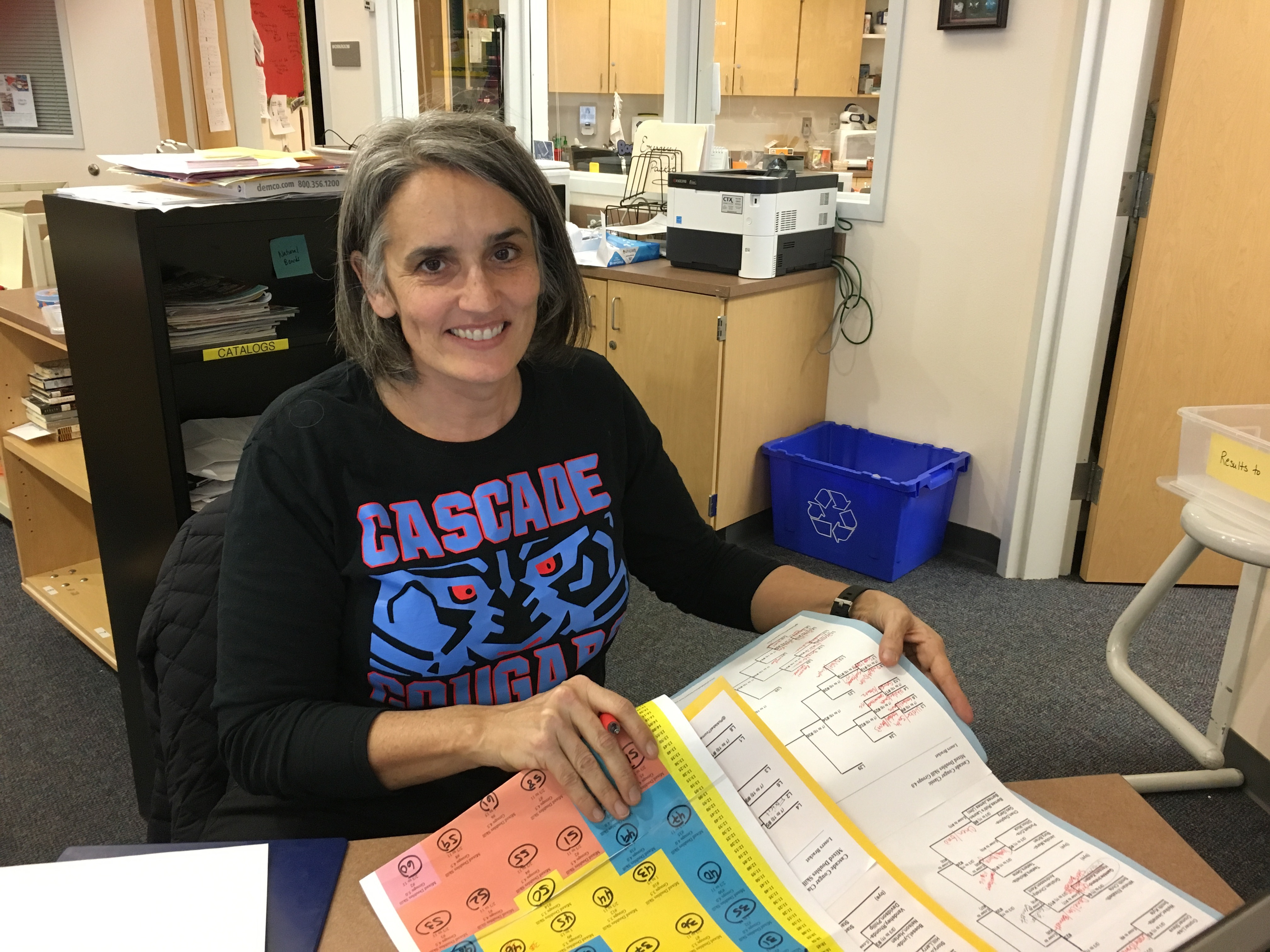 Caption: Michelle Annet - avid pickleball player and librarian at Cascade Middle School