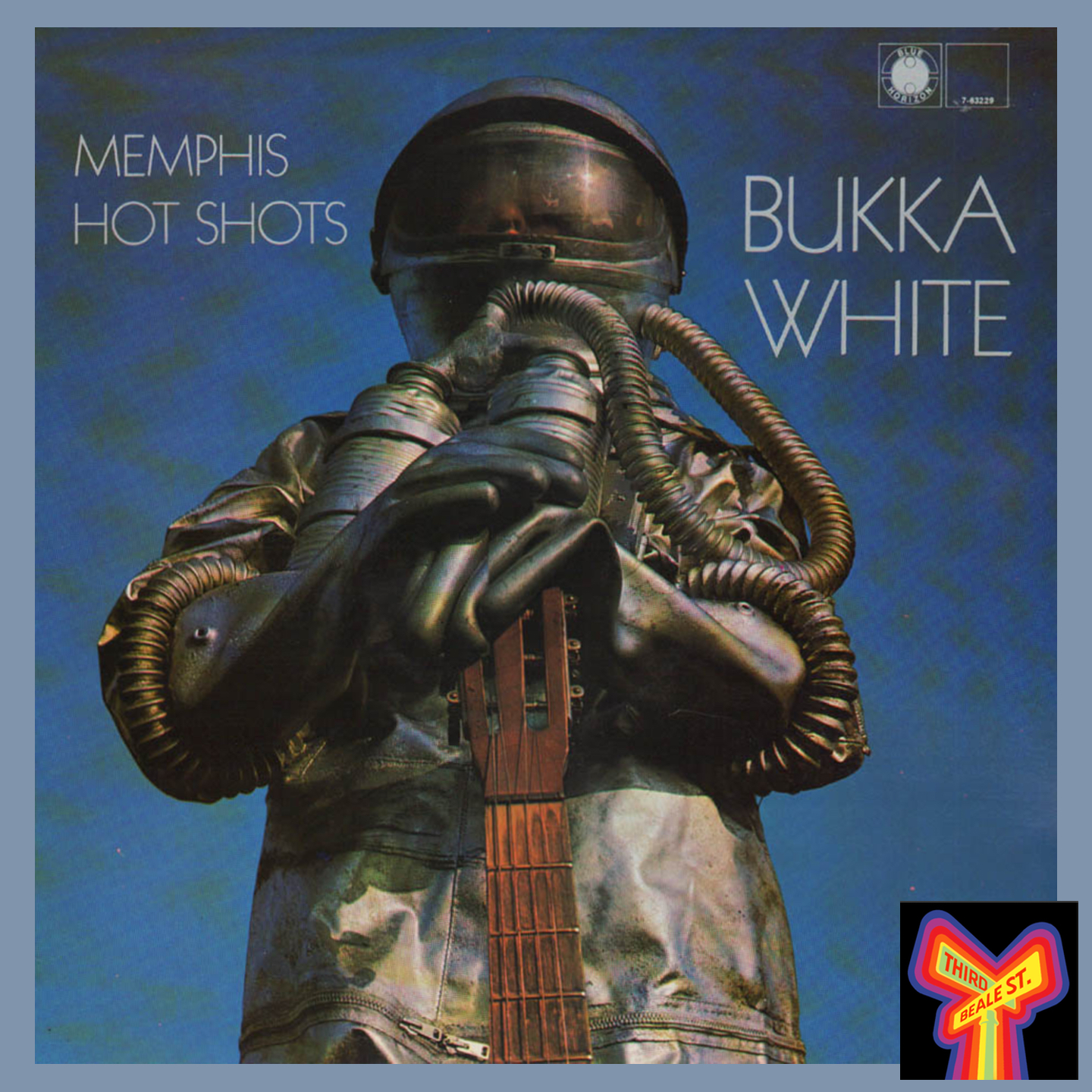 """Caption: Blue Horizon often featured striking and distinctive album covers, such as this one for Bukka White's """"Memphis Hot Shots"""" LP."""