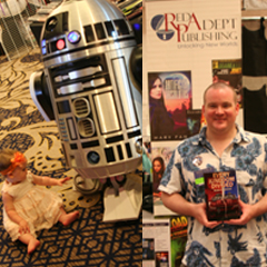 Caption: Shore Leave is a place to meet old friends or meet new writers. R2D2 designed by the R2 Builders Club (left) Author Stephen Stephen Kozeniewski  (right), Credit: Andrew Hiller