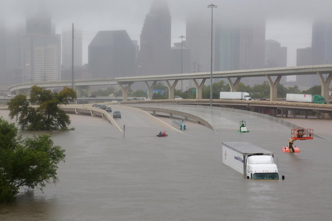 Caption: Interstate 45, submerged from the effects of Hurricane Harvey, which caused widespread flooding in Houston, Texas and surrounding areas. , Credit: Credit Richard Carson for Reuters (c)