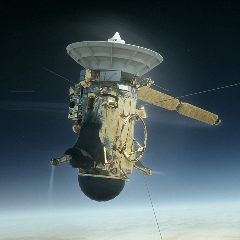 Caption: Artist concept of the Cassini spacecraft struggling to keep its antenna pointed at Earth in the moments before it burns up in Saturn's atmosphere., Credit: NASA/JPL-Caltech