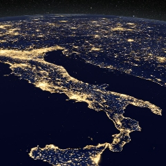 Caption: Night image of Italy from space, Credit: NASA/GSFC