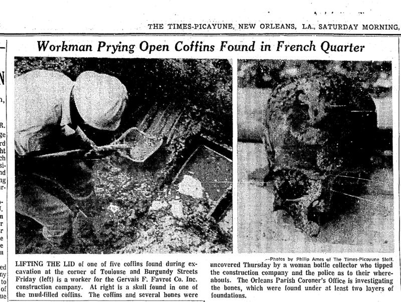 Caption: A 1972 Times-Picayune article detailing the discovery of coffins buried in the French Quarter., Credit: University of New Orleans
