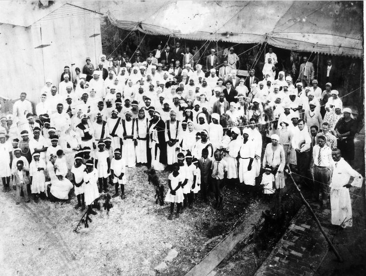 Caption:  Photograph of Mother Catherine and her congregation at the Temple of the Innocent Blood, ca. 1929. , Credit:  Historic New Orleans Collection, made possible by the Clarisse Claiborne Grima Fund.