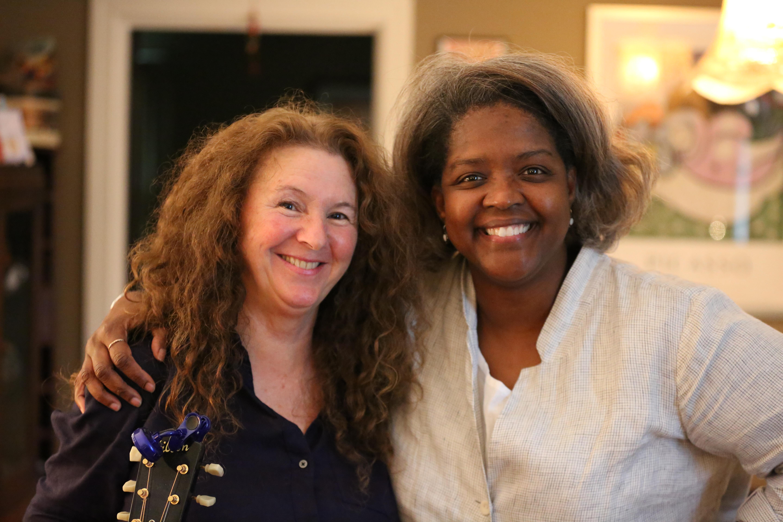 Caption: Tomi Lunsford and Gwen Thompkins at Tomi's home in Nashville, Credit: Jason Rhein
