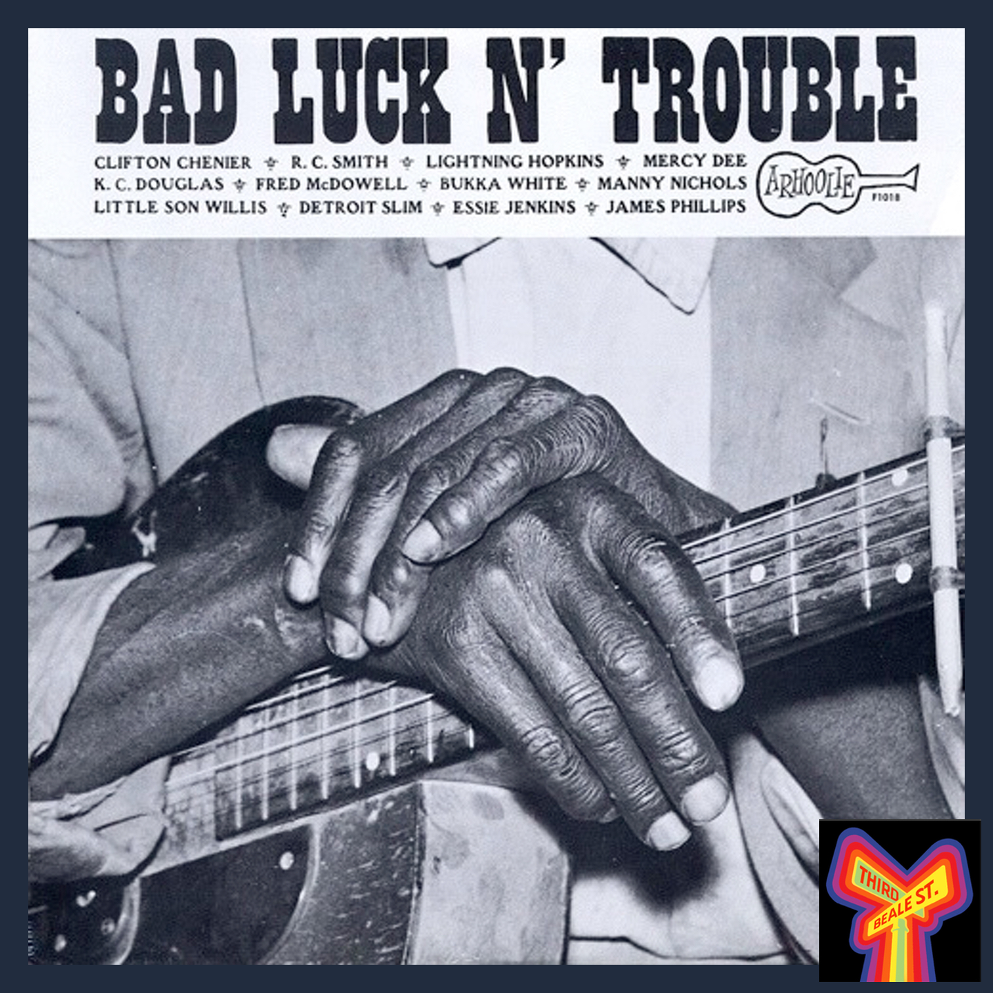 """Caption: The distinctive cover of Arhoolie LP 1018, """"Bad Luck N' Trouble"""""""