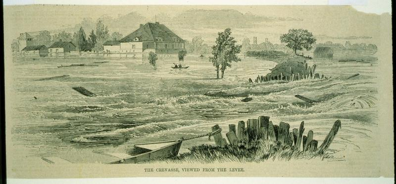 Caption: The Crevasse, viewed from the levee., Credit:  The Historic New Orleans Collection