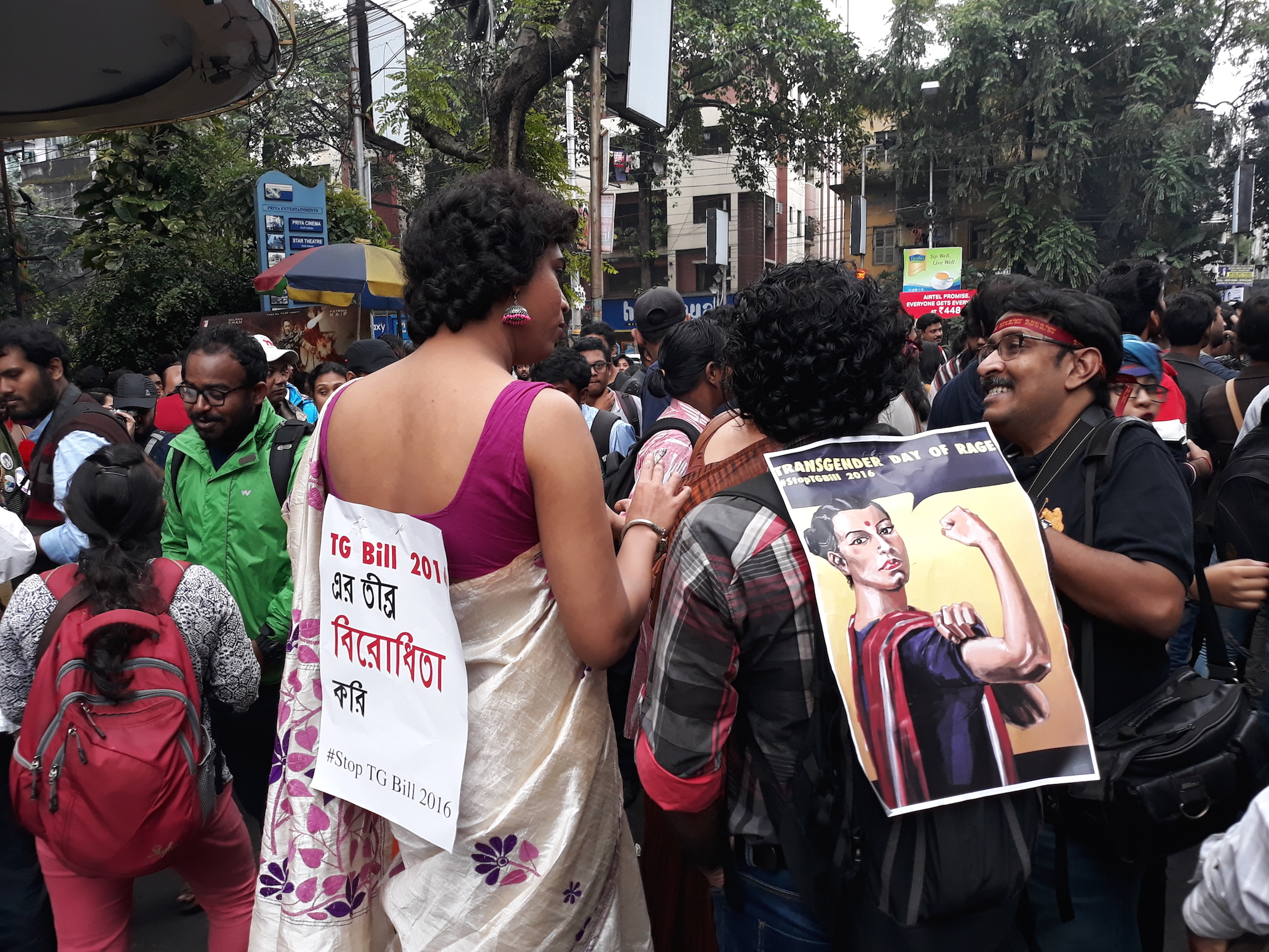 Caption: Trans activists protest the Transgender Persons Protection of Rights Bill, Credit: Sandip Roy