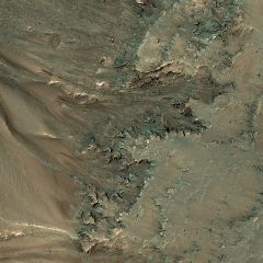 Caption: Recurring slope lineae or RSLs on Mars are not likely to indicate flowing water according to new research., Credit: NASA/JPL/UA/Emily Lakdawalla