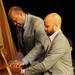 Caption: Master musicians Donald and Barron on the same piano!