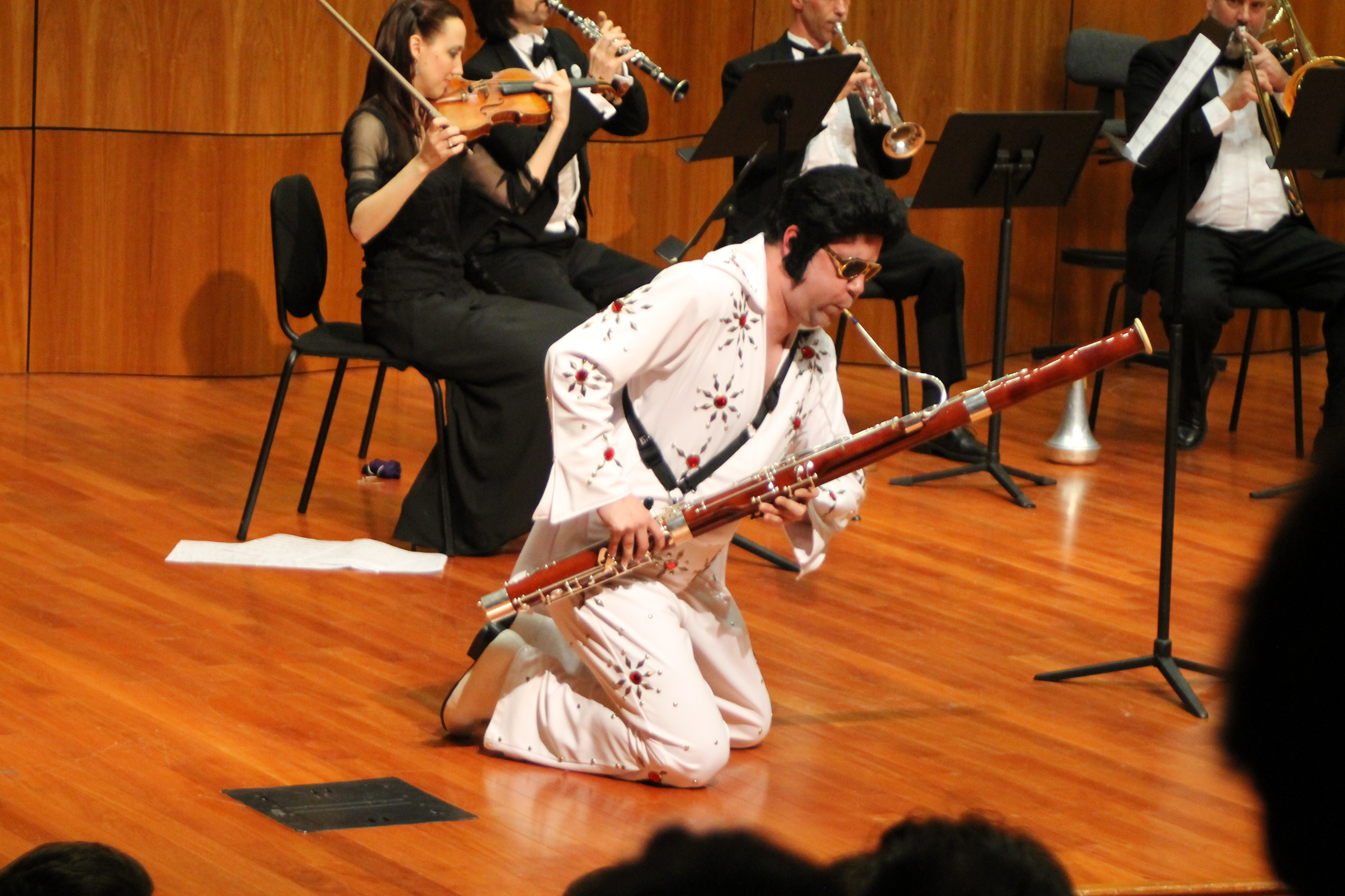"Caption: Bassoonist Dr. Sherwood Wise performing Michael Daugherty's ""Dead Elvis""., Credit: Michael Levi"