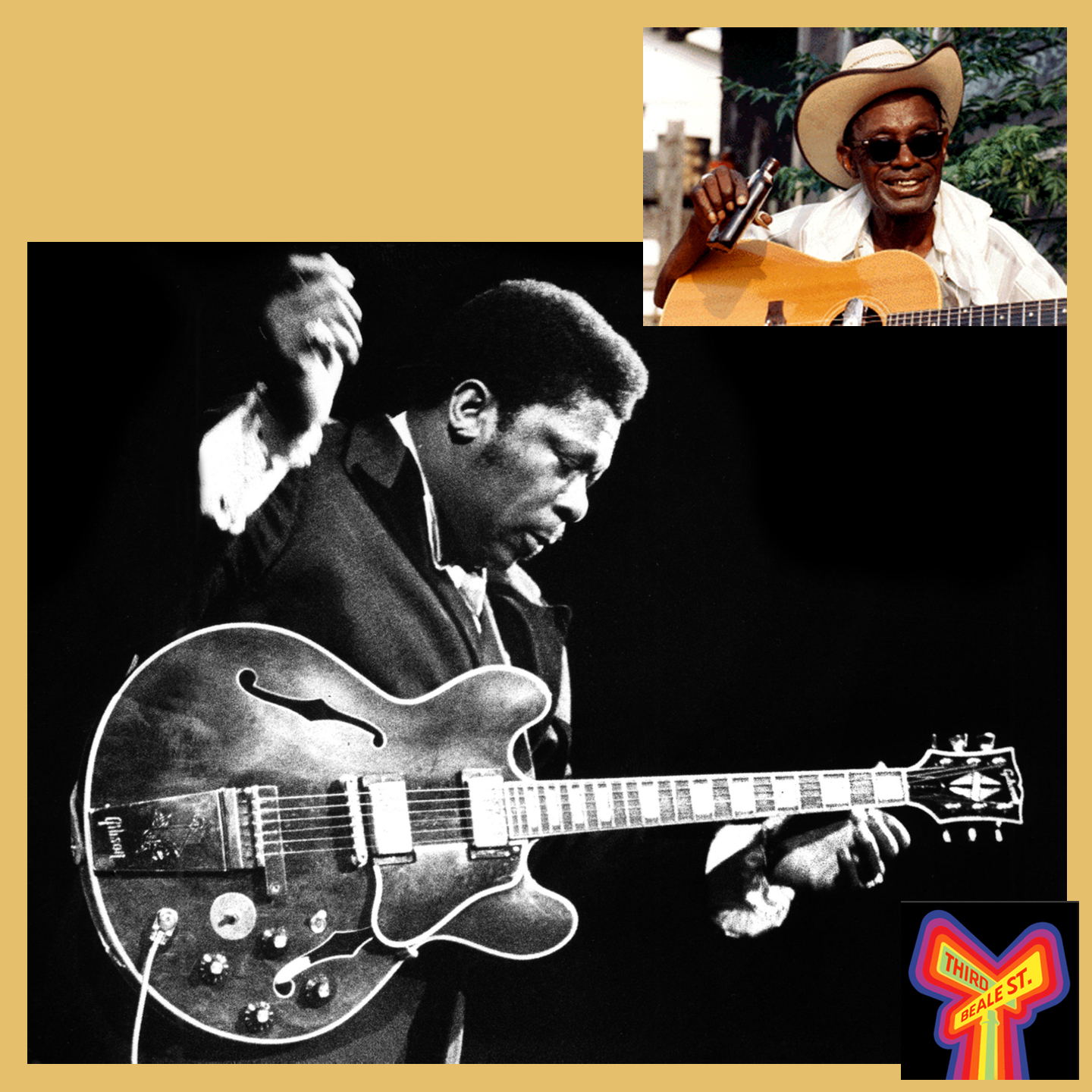 Caption: Pictured: B.B. King and his guitar Lucille (courtesy PBS); Upper right: Lightnin' Hopkins (courtesy Flower Films)