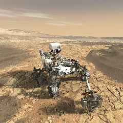 Caption: Artist Concept of the Mars 2020 Rover, with Mastcam-Z, Credit: NASA/JPL-Caltech