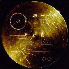 Caption: •The cover for the Voyager Golden Record, headed into interstellar space on Voyagers 1 and 2, Credit: NASA/JPL