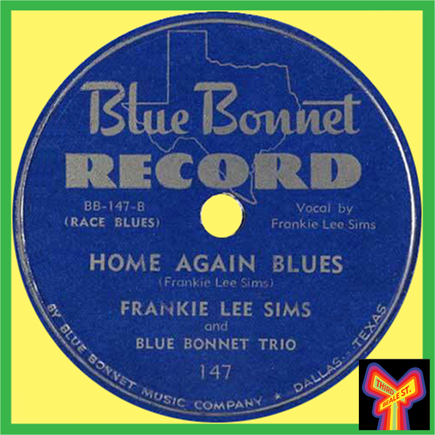 Caption: Frankie Lee Sims, making his recording debut on Texas' very own Blue Bonnet label, in 1948.