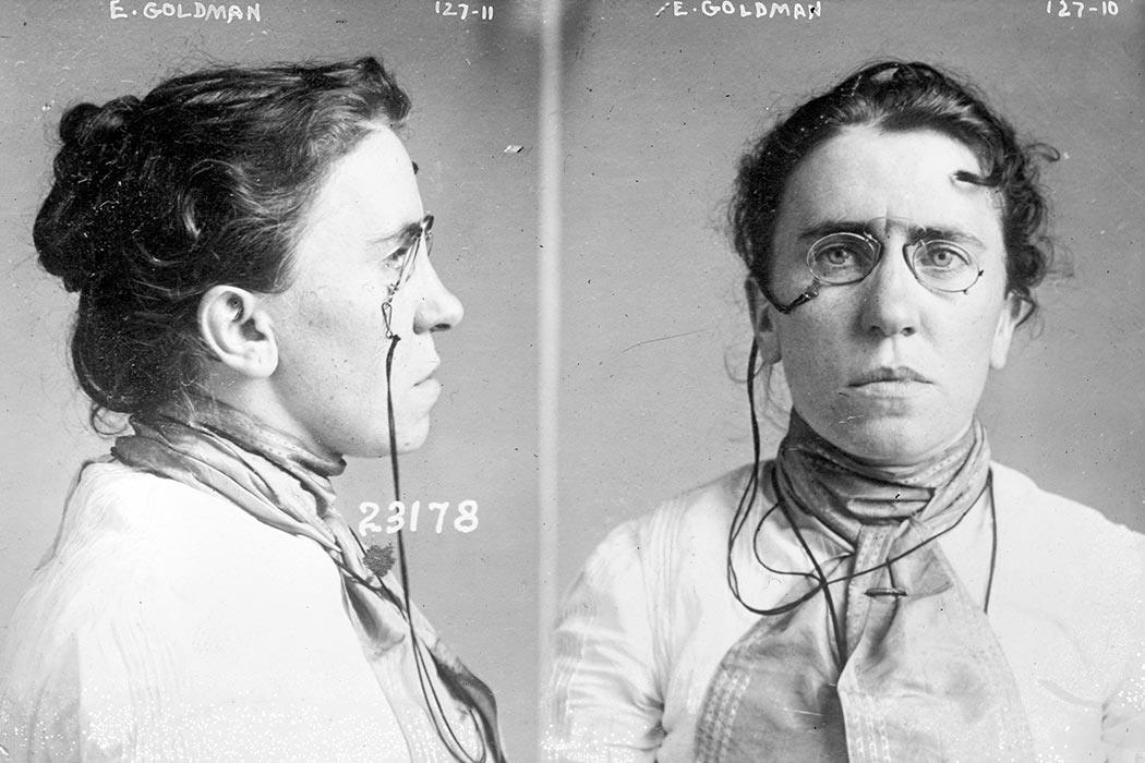 Caption: Mug shot taken in 1901 when Goldman was implicated in the assassination of President McKinley.