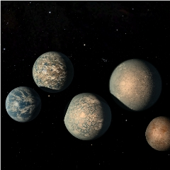 Caption: Artist concept of the planets circling the star known as Trappist-1, Credit: NASA/JPL-Caltech
