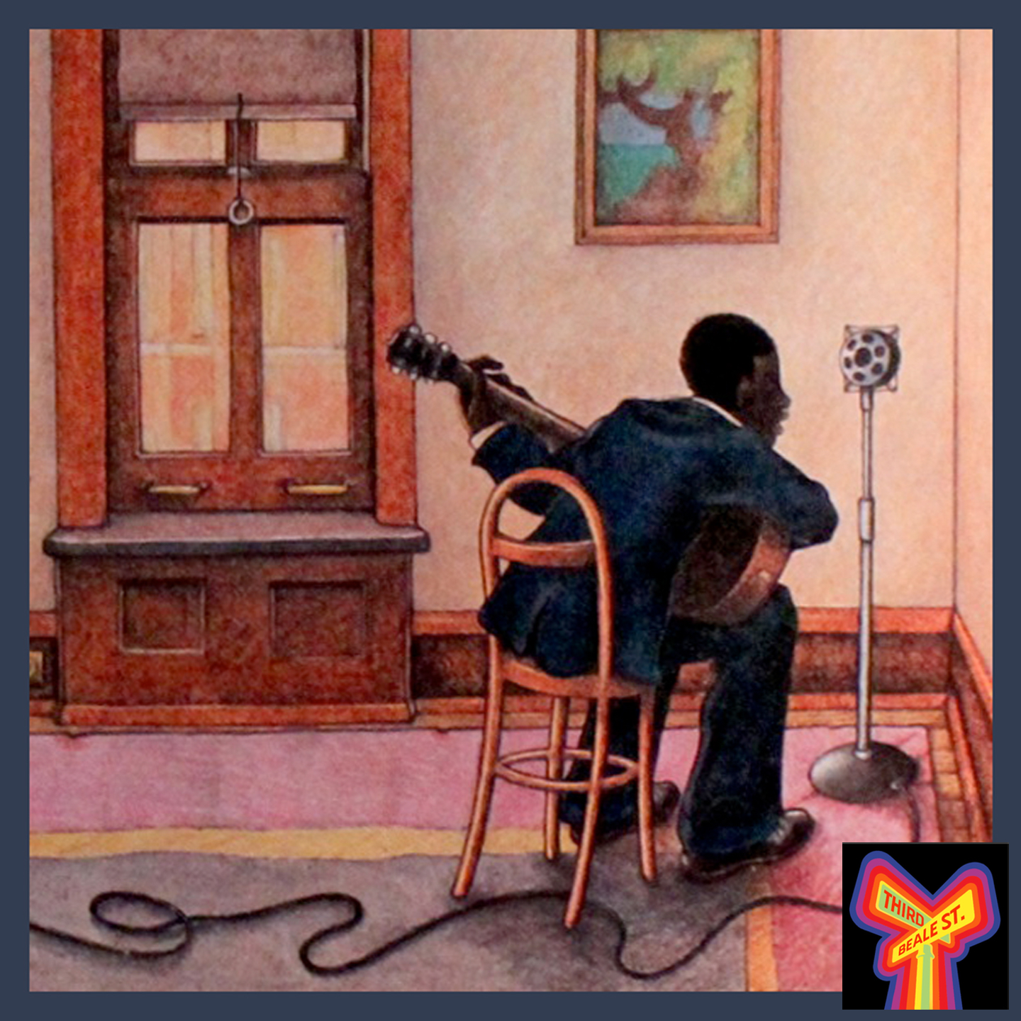 Caption: Illustration by the Daily Planet/Tom Wilson, depicting Robert Johnson's recording debut in a San Antonio hotel room, 1936.