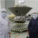 Caption: InSight PI Bruce Banerdt in the cleanroom with the Planetary Society's Emily Lakdawalla and the spacecraft., Credit: The Planetary Society