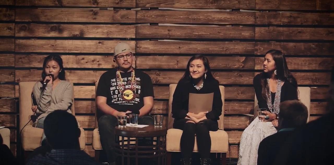 Caption: Dahkota Brown, Chiitaanibah Johnson, Jayden Lim, and Naelyn Pike, Credit: Bioneers