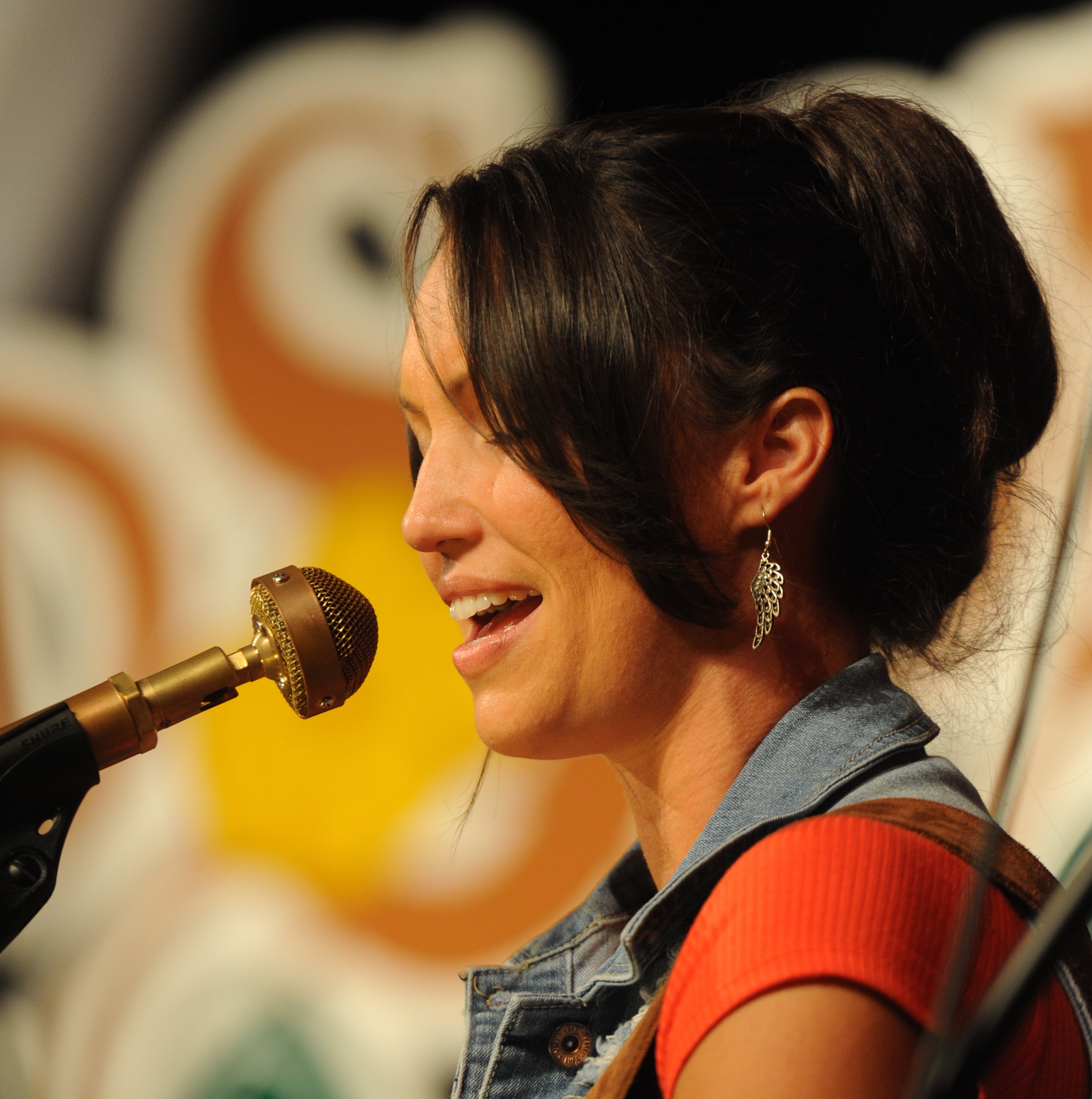 Caption: Kentucky country artist Sarah Patrick on the WoodSongs Stage.