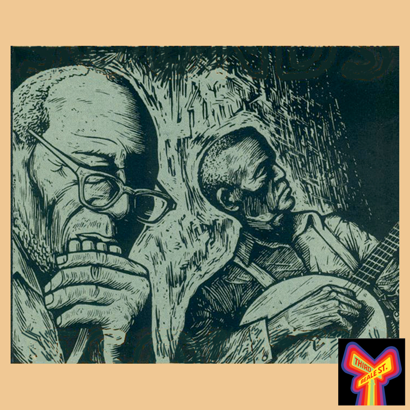 Caption: Two legendary Hill Country musicians, Sid Hemphill and Lucius Smith. Illustration by Archer Pruitt.