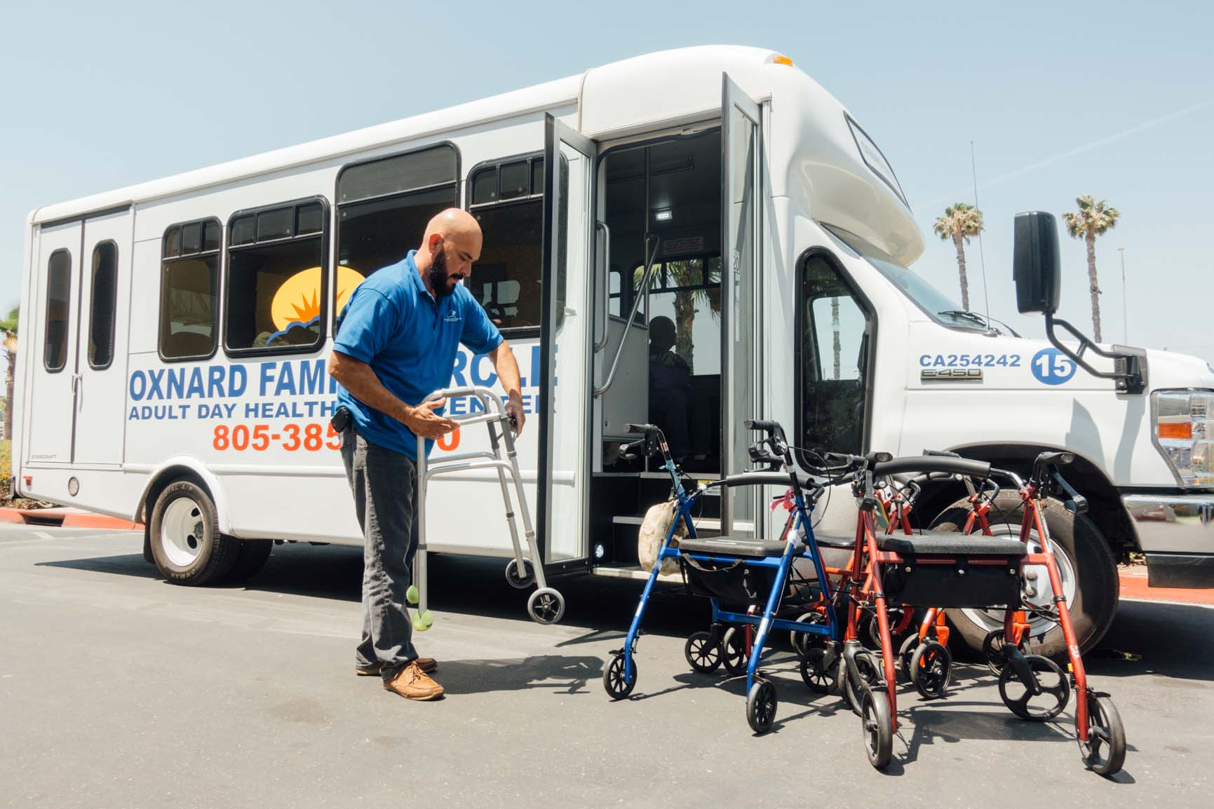 Caption: Participants in Oxnard Family Circle's Adult Day Healthcare program get transportation to and from home on weekdays., Credit: Libby Denkmann/American Homefront