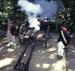Caption: Cannon firing at encampment, Credit: Jamestown Yorktown Foundation