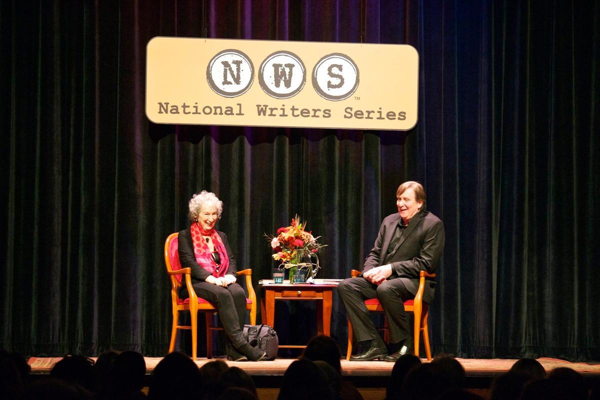 Caption: Margaret Atwood with Doug Stanton