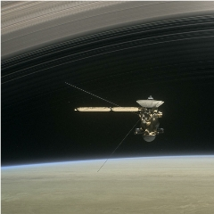 Caption: This illustration shows NASA's Cassini spacecraft about to make one of its dives between Saturn and its innermost rings as part of the mission's Grand Finale., Credit: NASA/JPL-Caltech