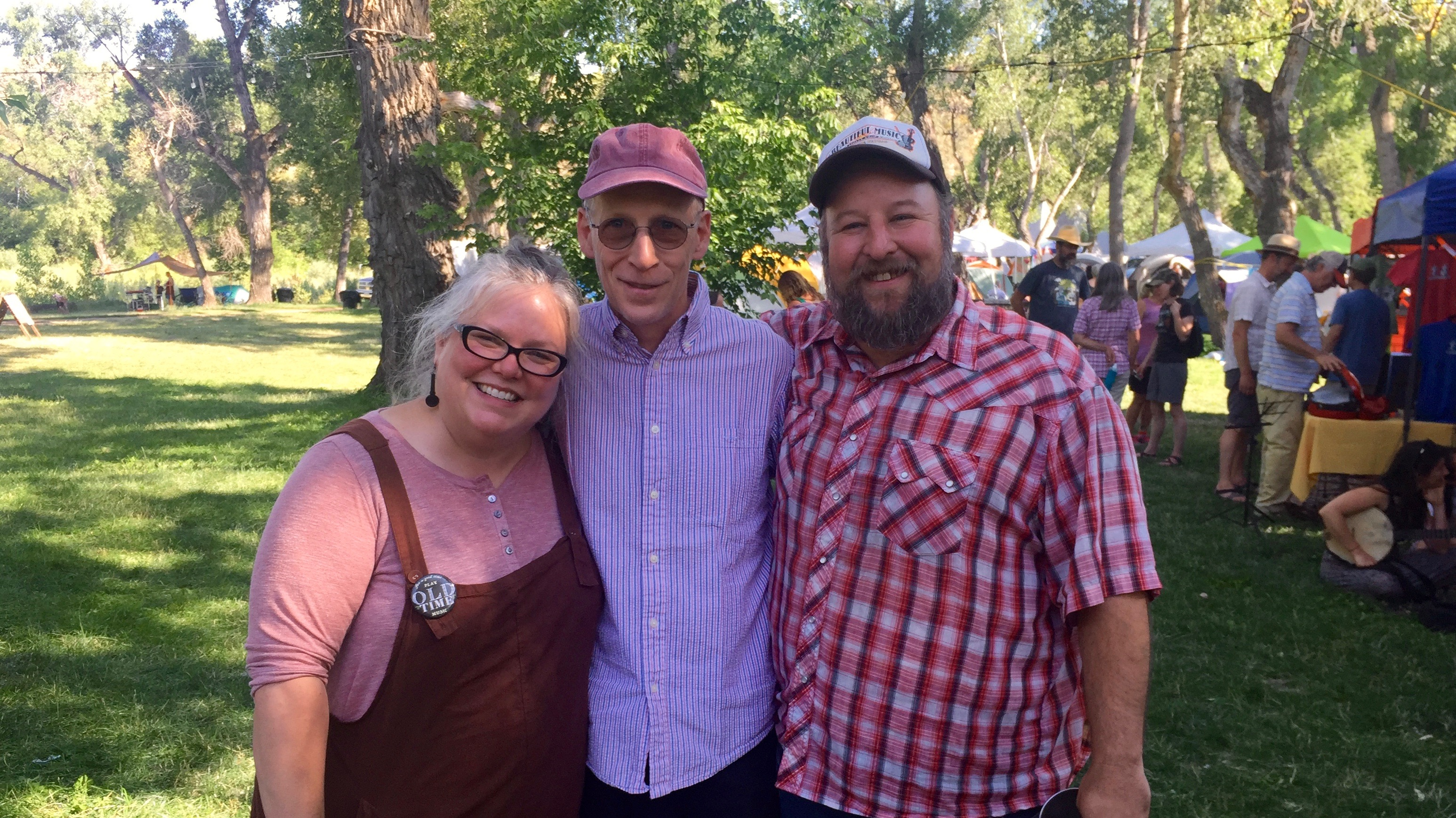 Caption: Across the Blue Ridge host Paul Brown (center) with Betse Ellis (l.) and Clarke Wyatt at the 2018 Rocky Mountain Old Time Music Festival in Colorado.  Betse and Clarke, a duo with an interesting musical history before they concentrated on roots and old-ti, Credit: Paul Brown