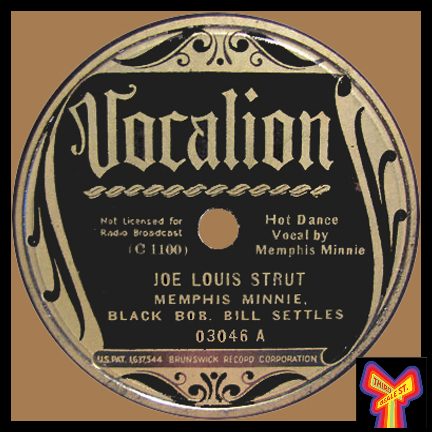 """Caption: One of the few 78s to give him label credit, the """"Joe Louis Strut"""" is a tour de force by Black Bob."""