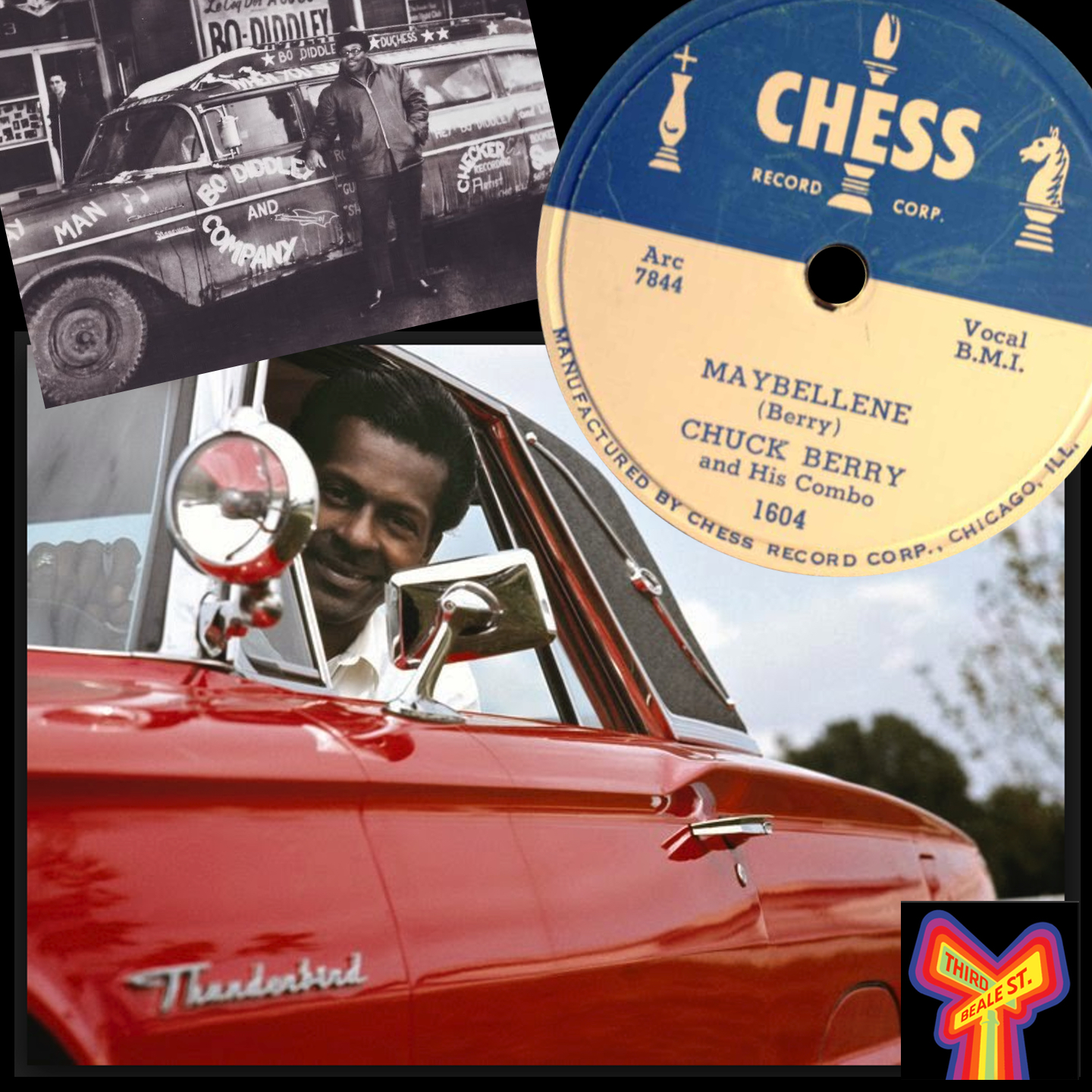 Caption: From top left: Bo Diddley & his limo; Chuck Berry's breakout hit; the man himself.
