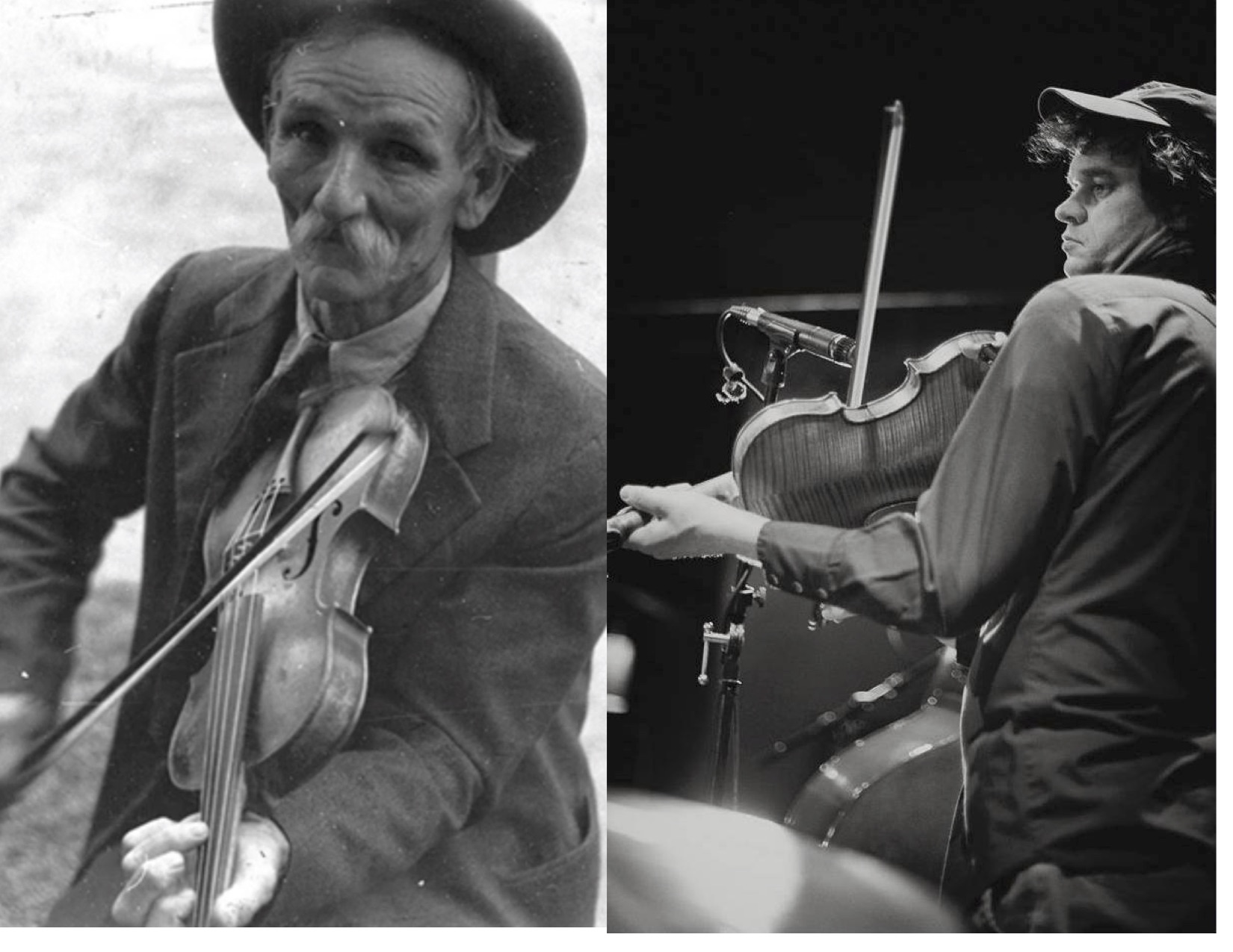 Caption: Fiddlin' Bill Hensley (L, Ben Shahn, Library of Congress) and Jason Cade (R, Jamie Derevere) represent two ends of our story this week: the historic old time players whose music is preserved in early recordings, and today's performers interpreting the old