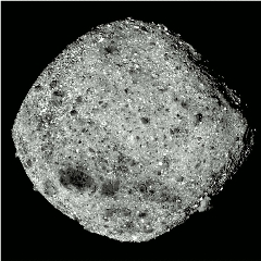 Caption: Asteroid Bennu in an image captured by OSIRIS REx at its arrival., Credit: NASA/University of Arizona