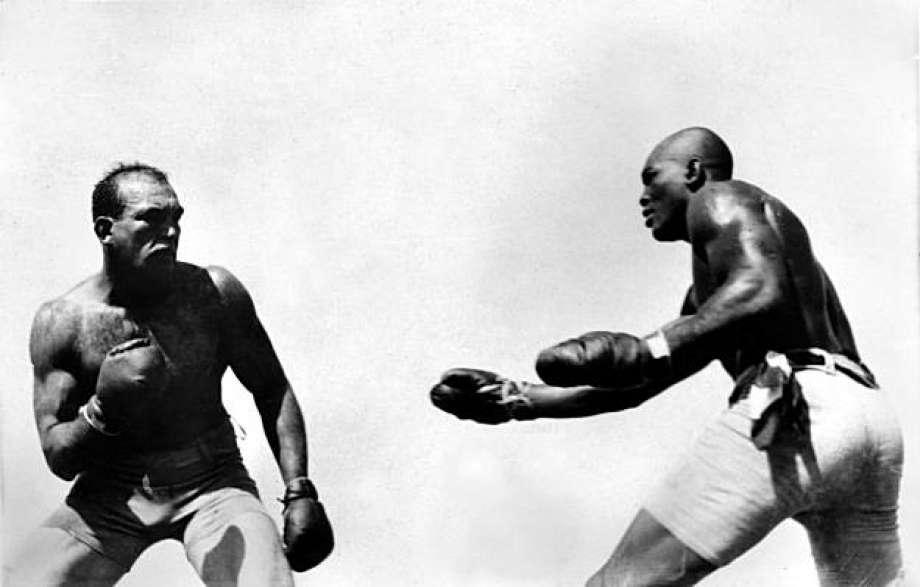 "Caption: Jack Johnson fights ""Great White Hope"" Jim Jeffries in Reno, Nevada. July 4, 1910"