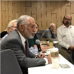 """Caption: •Former NASA Administrator Charles """"Charlie"""" Bolden asks a question at the NSS Space Settlement Summit., Credit: Mat Kaplan"""