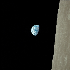 """Caption: The timeless """"Earthrise"""" image captured by the Apollo 8 astronauts as they circled the Moon., Credit: NASA/Sean Doran"""