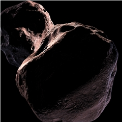 Caption: Kuiper Belt object 2014 MU69, target for the New Horizons flyby, is seen here in an artist's concept., Credit: NASA/SwRI