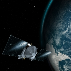 Caption: Artist concept of the OSIRIS REx spacecraft passing Earth on its way to asteroid Bennu., Credit: NASA/GSFC/UA
