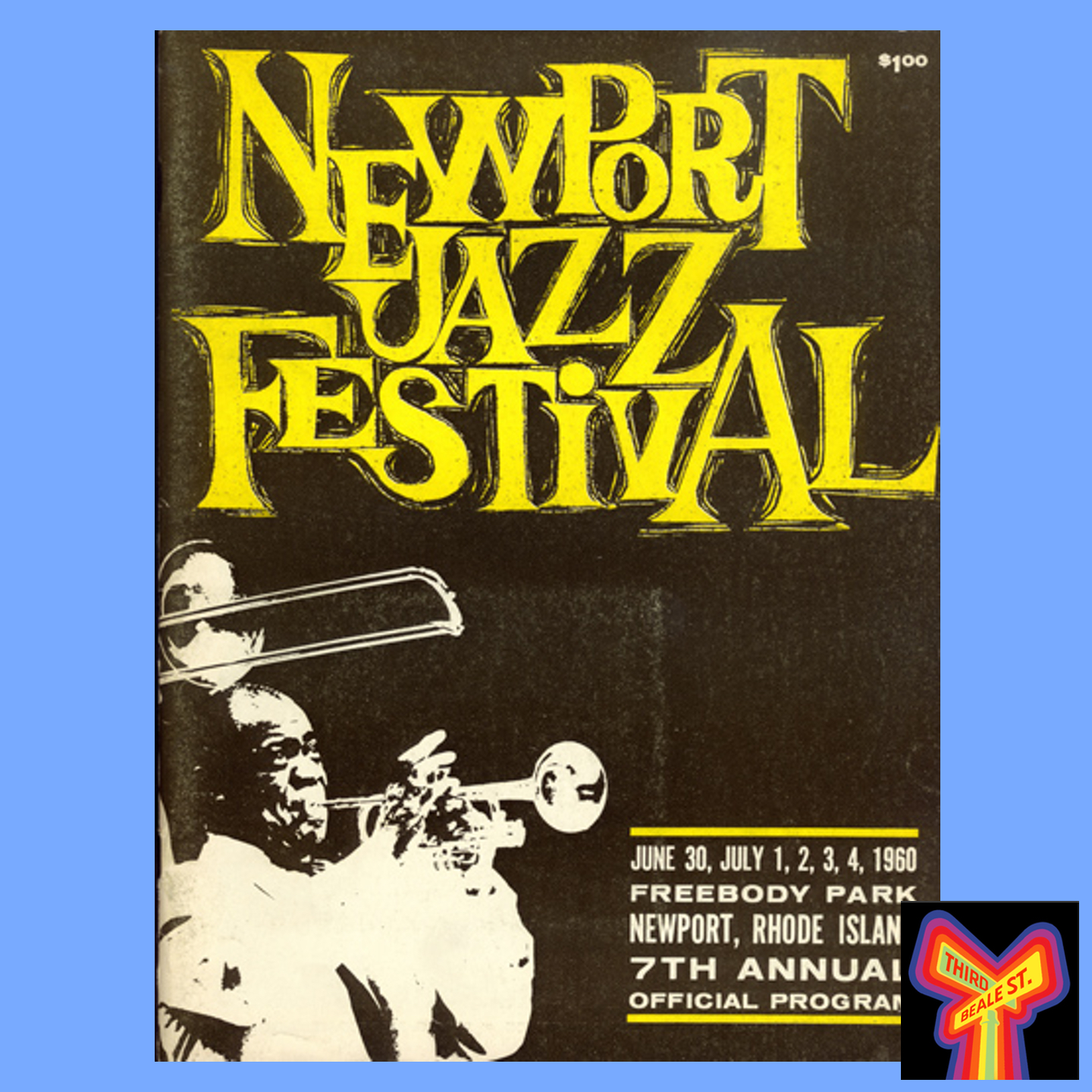Caption: Program for the 1960 Newport Jazz Festival, which included performances by John Lee Hooker and Muddy Waters.