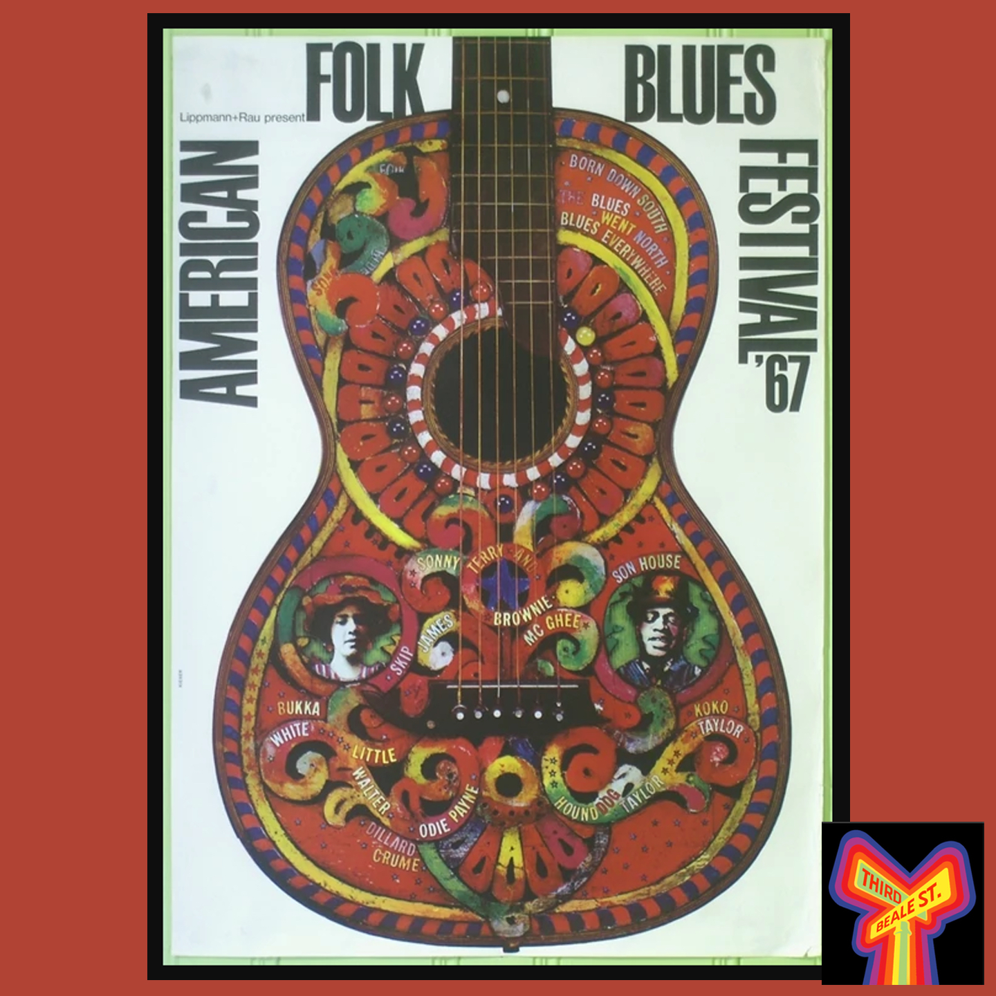 Caption: Some of the distinctive graphics from the American Folk Blues Festival tours, this one from 1967.