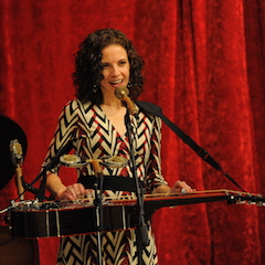 Caption: Dobro songwriter Abbie Gardner on the WoodSongs Stage.