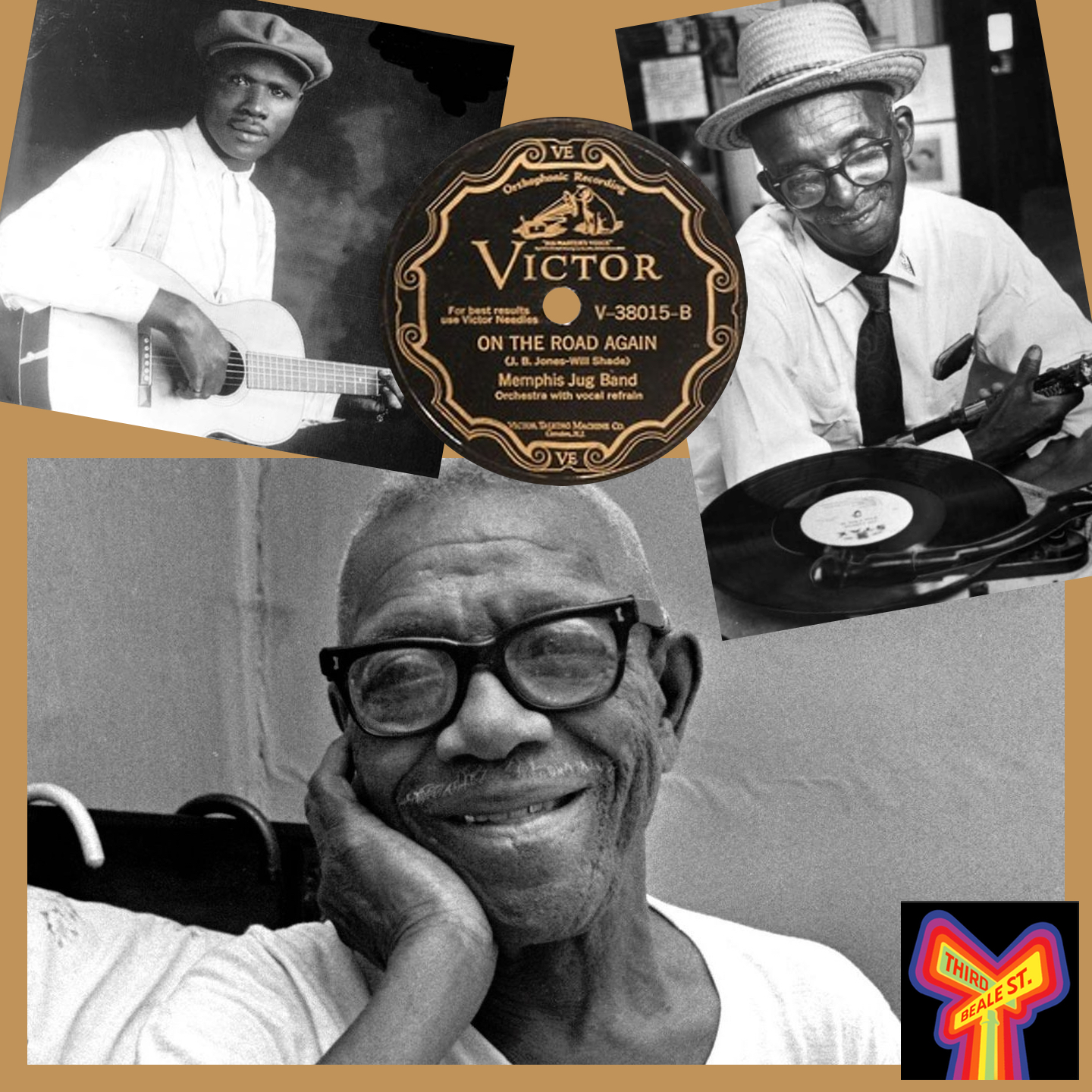 """Caption: Clockwise, from top left: Frank Stokes, also referred to as """"Creator of the Memphis Blues;"""" Gus Cannon listens to his Stax LP (photo by Bob Williams); Furry Lewis, 1976 (photo by Barney Sellers)."""