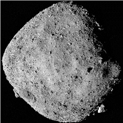 Caption: This mosaic image of asteroid Bennu is composed of 12 PolyCam images collected on Dec. 2 by the OSIRIS-REx spacecraft from a range of 15 miles (24 km). The image was obtained at a 50° phase angle between the spacecraft, asteroid and the Sun, and in it, Be, Credit: NASA/Goddard/University of Arizona