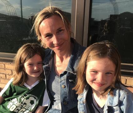 Caption: Dehlia Seim with her daughters, Elinor and Berit